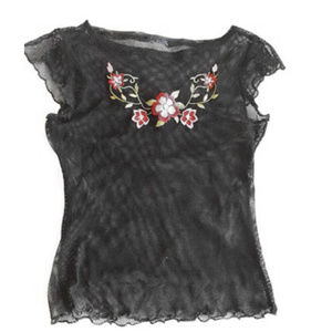 Tops - BLACK MESH FLORAL EMBROIDERED CAP SLEEVE TOP XS-S